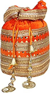Indian Velvet Potli Bag with Attractive Handicraft Thread Work for Female - Saffron