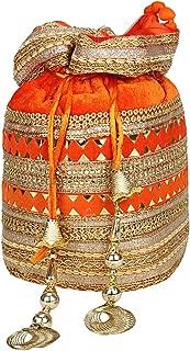 Indian Velvet Potli Bag with Attractive Handicraft Thread Work for Female - Saffron