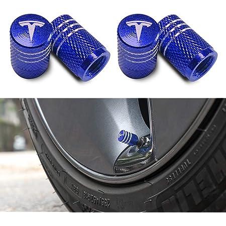 4x Blue Navy Metallic Wheel Tire Air Valve Caps Stem For Mercedes Audi TeSla Kia