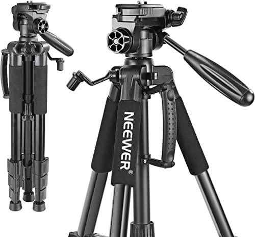 Neewer Portable 56 inches/142 Centimeters Aluminum Camera Tripod with 3-Way Swivel Pan Head,Bag for DSLR Camera,DV Vi...