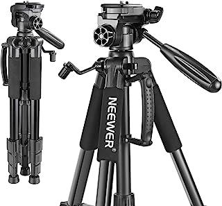Neewer 142cm Trípode de Cámara de Aluminio con Rótula de 3 Vías Giratorio Bolsa de Transporte para cámara DSLR DV Video Videocámara Carga hasta 4 kilogramos Negro(SAB234)