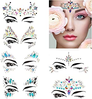 Leoars Festival Face Jewels Tattoo, Rhinestone Face Gems Sticker, Rave Crystals Face Gems Stickers, Body Gem Sticker Stones Bindi Temporary Face Tattoos for Festive Rave, 6 Sets (Collection1)