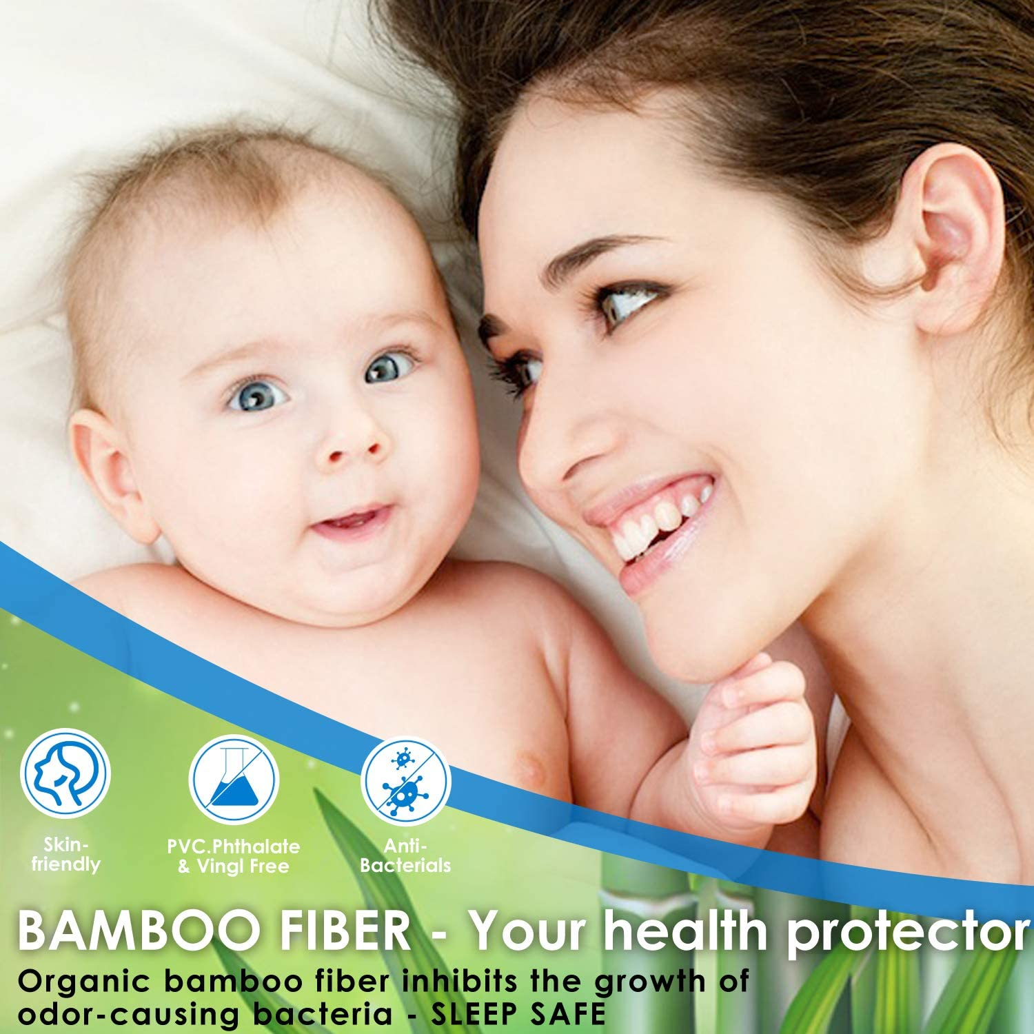 Breathable Noiseless Mattress Protection Fitted 8-21 Deep Pocket Mattress Pad Hypoallergenic Vinyl Free Twin Size Mattress Protector Waterproof Bamboo Cooling Mattress Cover