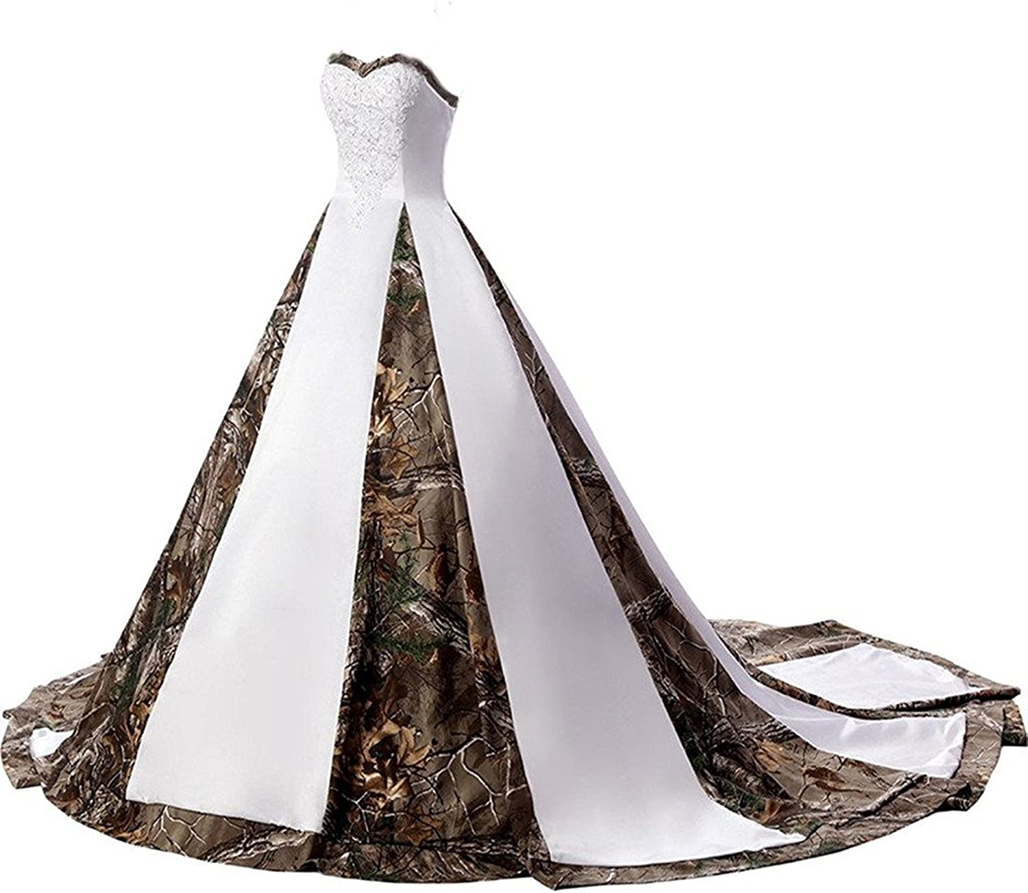 DINGZAN Straps Ball Gowns White and Camo Bridal Dresses Wedding Gowns Lace