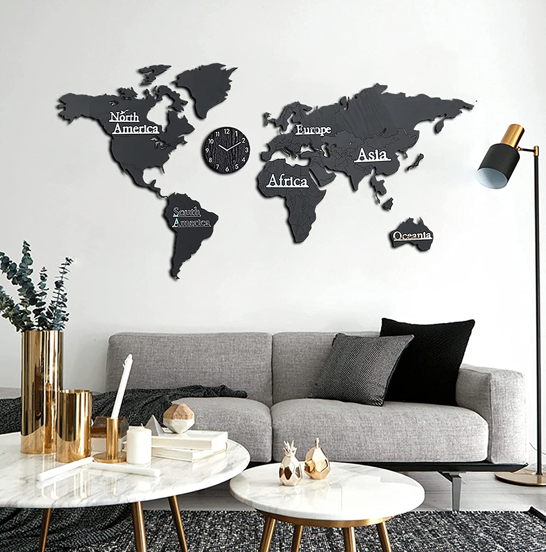 Damuzhi Mapa Mundi Pared Grande,Mapa Mundi Pared,Mapa Del Mundo Para Pared,Decoración De Pared De Mapa Del, Reloj De Pared,Pegatinas De Pared Decoración ,Reloj Pared M (130 * 66 Cm) Negro