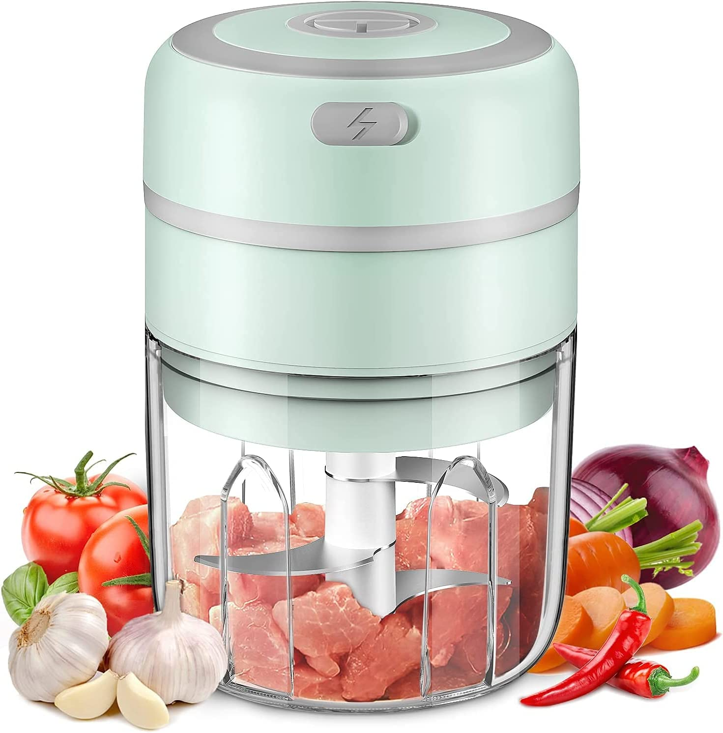 Electric Mini Garlic Chopper, Anzir Portable Cordless Vegetable Food Processor, Handheld USB Rechargeable Powerful Mincer for Onion, Grinder(Green,high-250ml)