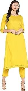 Janasya Women's Yellow Rayon Kurta With Pant