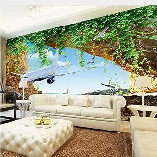 Zjxxm Customize Any Size 3D Photo Plane Sea View Wallpaper Live Room Bedroom Wallpaper for Walls 3 D Papel De Parede 3D -140Cmx110Cm