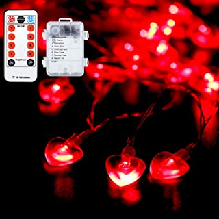 Valentine's Day Heart String Light, 14.5 ft 40 LEDs 3D Heart Light, Battery Powered with 8 Modes, Remote Control and Timer...