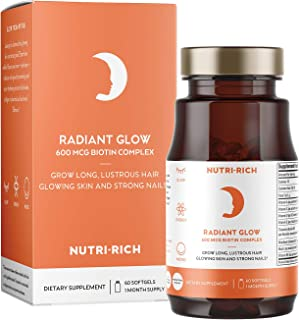 Radiant Glow for Hair Skin & Nails | Get Lustrous Hair Glowing Skin and Strong Nails with Biotin, Methylated B12, Folate, Collagen, Organic Flaxseed Oil (60 Count)