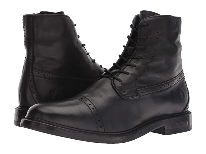 1920s Boardwalk Empire Shoes Frye Murray Lace-Up Black Washed Dip-Dye Leather Mens Lace-up Boots $209.99 AT vintagedancer.com