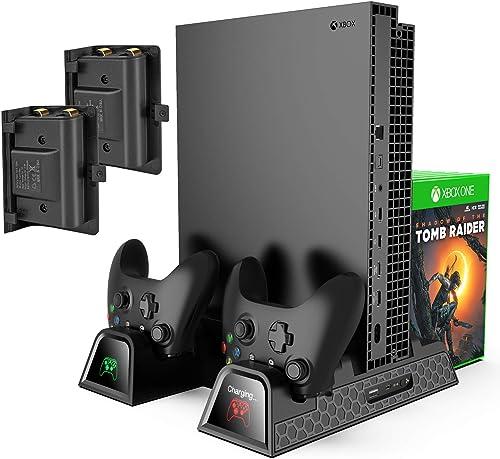 [4 en 1] Ventilateur de Refroidissement KINGTOP Support Vertical avec 2 Batteries de 600mAh Stockage de Jeux Station ...