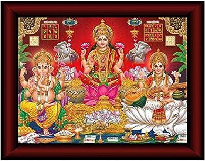 SAF Laxmi Saraswati Ganesha Framed Acrylic Glass Painting 14 inch x 11 inch SANFR13