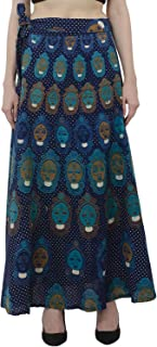 Indian Dresses Store Womens Summer Cover up Traditional Wax Print Adjustable Strap Maxi Skirt Dress Blue