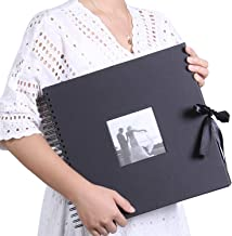 12x12 Inch DIY Scrapbook Photo Album with Cover Photo Pocket 80 Pages Silk Ribbon Album Craft Paper Album for Guest Book, Anniversary, Valentines Day Gifts(Black)