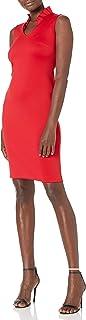 Calvin Klein Women's Solid Sleeveless Sheath with Ruffle Collar Dress