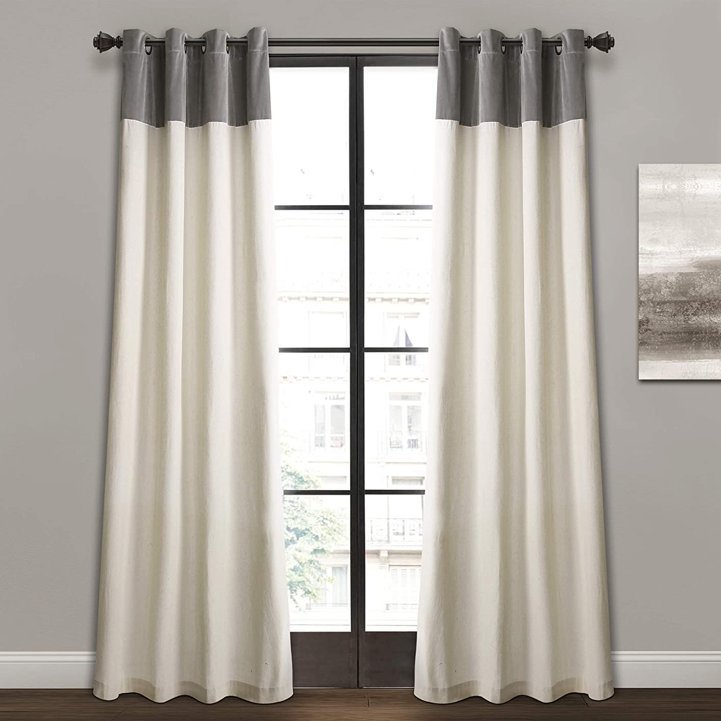 Lush Decor Milo Linen Window Curtain Panel Pair, 84