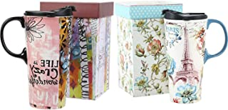 Ceramic Travel Mug 17 oz. Coffee Cups with Sealed Lid and Gift Box