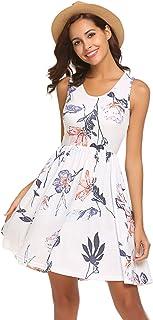 SimpleFun Womens Summer Floral Sundress Casual Beach Sleeveless Short Dresses