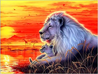 Fipart DIY Diamond Painting by Numbered kit, Full-drilled Lion Cross-Stitch Art Craft Wall Decoration,14X18 inches
