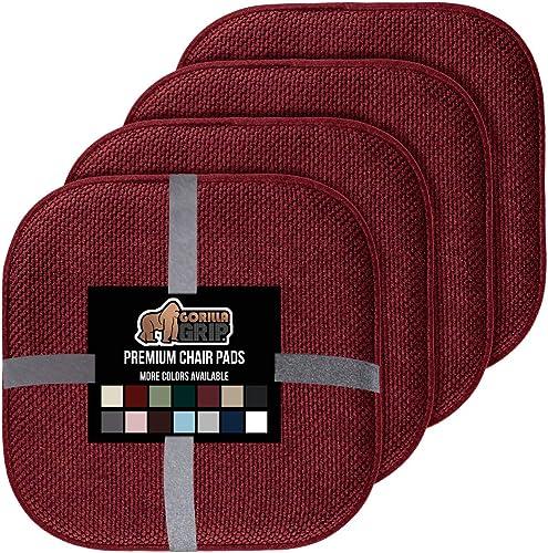 Gorilla Grip Original Premium Memory Foam Chair Cushions, 4 Pack, 16x16 Inch, Thick Comfortable Seat Cushion Pad, Lar...