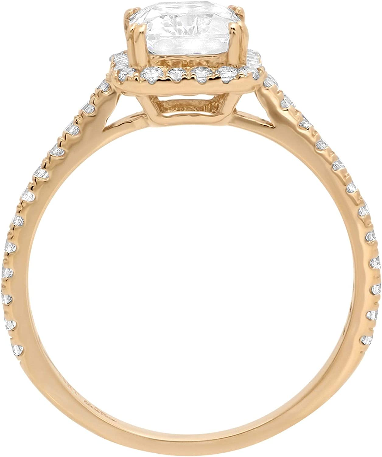2.08ct Brilliant Emerald Halo Simulated Diamond Statement Solitaire Ring 14k Yellow Gold