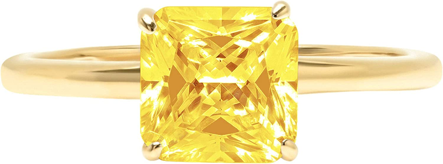 1.9ct Brilliant Asscher Cut Solitaire Canary Yellow Simulated Diamond Cubic Zirconia Ideal VVS1 D 4-Prong Engagement Wedding Bridal Promise Anniversary Ring Solid 14k Yellow Gold for Women