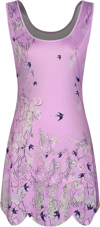 Women Casual Crew Neck Sleeveless Tank Shirt Dress Plus Size Printing Wave Hem Summer Dresses for Women 2021