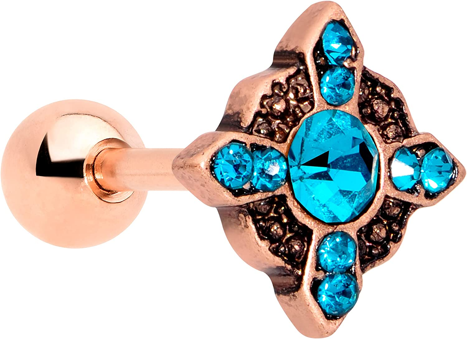 Body Candy 16G Womens PVD Stainless Steel Rosy Blue Accent Cross Cartilage Earring Helix Tragus Jewelry 1/4
