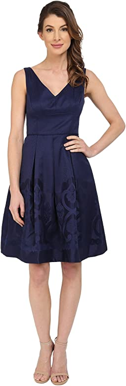 Scroll Border Jacquard Fit and Flare Dress