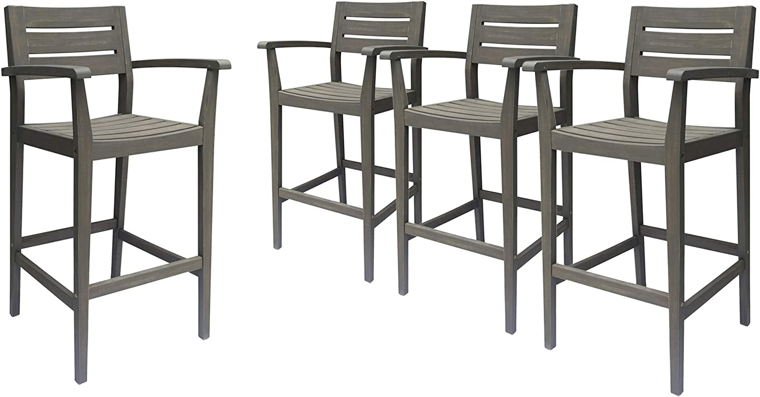 trend rank Great Deal Furniture Blair Outdoor Acacia Barstool Rustic Oakland Mall Wood