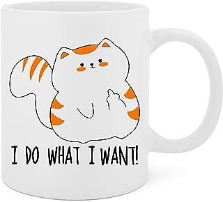 I Do What I Want (Cat) - 11 Oz White Ceramic Glossy Mug With Large C-handle (Microwave and Dishwasher Safe)