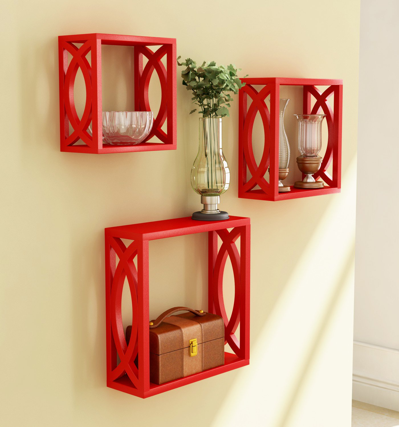 Home Sparkle Wooden Wall Shelf Cube Design Wall Mounted Shelves For Living Room Set Of 3 Red Amazon In Home Kitchen