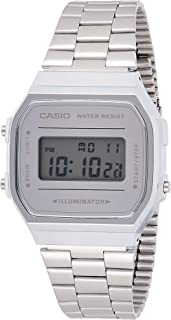 Casio Silver Dial Metal Band Watch - A168Wem-7Df, Digital Display, For Unisex