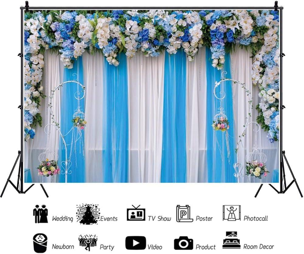 Leowefowa Romantic Blue White Tone Floral Wedding Stage Chiffon Drapes Vinyl 12x8ft Photography Background Wedding Ceremony Backdrops Bride Groom Portrait Shoot Bridal Shower Photo Booth Props
