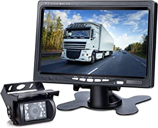 DVKNM Upgrade Backup Camera Monitor Kit,1280X720P HD,IP69 Waterproof Rearview Reversing Rear View Camera 7'' LCD Reversing Monitor Truck/Semi-Trailer/Box Truck/RV — HD Transmission, Four-pin — (TZ101)