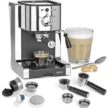 Beem 03260 Perfect | Máquina de café expreso con cápsula para cápsulas Nespresso de 20 bares | Basic Selection | Boquilla de espuma de leche | polvo de café, cápsulas, acero inoxidable: Amazon.es: Hogar