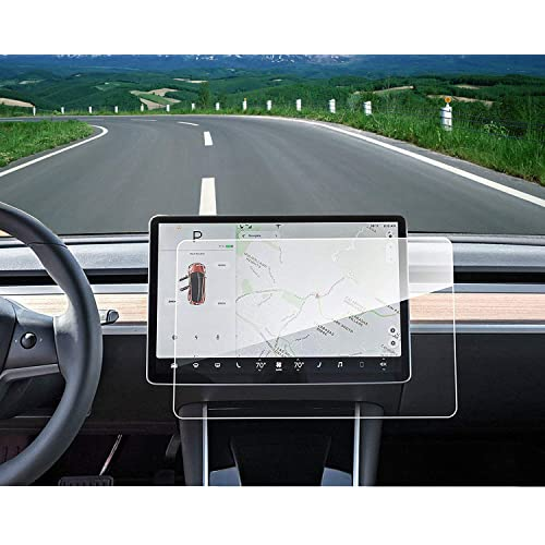 """Model 3 Center Control Touch Screen Car Navigation Tempered Glass Screen Protector, 9H Anti-Scratch and Shock Resistant for Model 3 Screen Cover P50 P65 P80 P80D 15"""""""