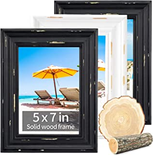 4x6 picture frames white wood wall decor with high definition glass- vintage picture frames rustic table top decor wood wa...
