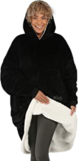 Best THE COMFY Original | Oversized Microfiber & Sherpa Wearable Blanket, Seen On Shark Tank, One Size Fits All Black Review