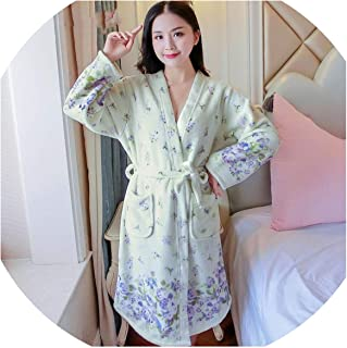 a5ea08add4 Ladies Long Bathrobe Women Flower Flannel Kimono Robes