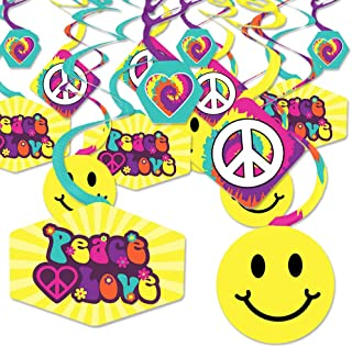 60's Hippie - 1960s Groovy Party Hanging Decor - Party Decoration Swirls - Set of 40
