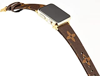 for Apple Watch Band Leather Iwatch Strap Replacement 42mm 44mm Band with Stainless Metal Classic Buckle for Apple Watch Series 4 3 2 1 (Brown Silver Connector 42mm)