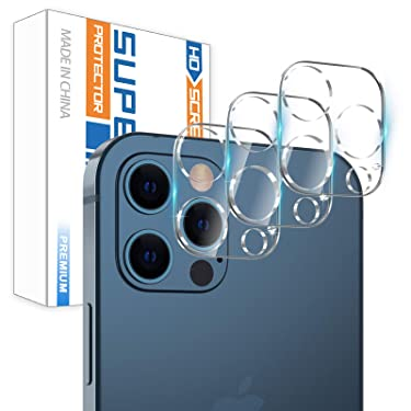 """[3 Pack] Camera Screen Protector for iPhone 12 PRO 5G (6.1"""") Screen Protector Tempered Glass, Case Friendly No-Bubble HD Clear Anti-Scratch Camera Lens Screen Protector for iPhone 12 PRO 6.1"""