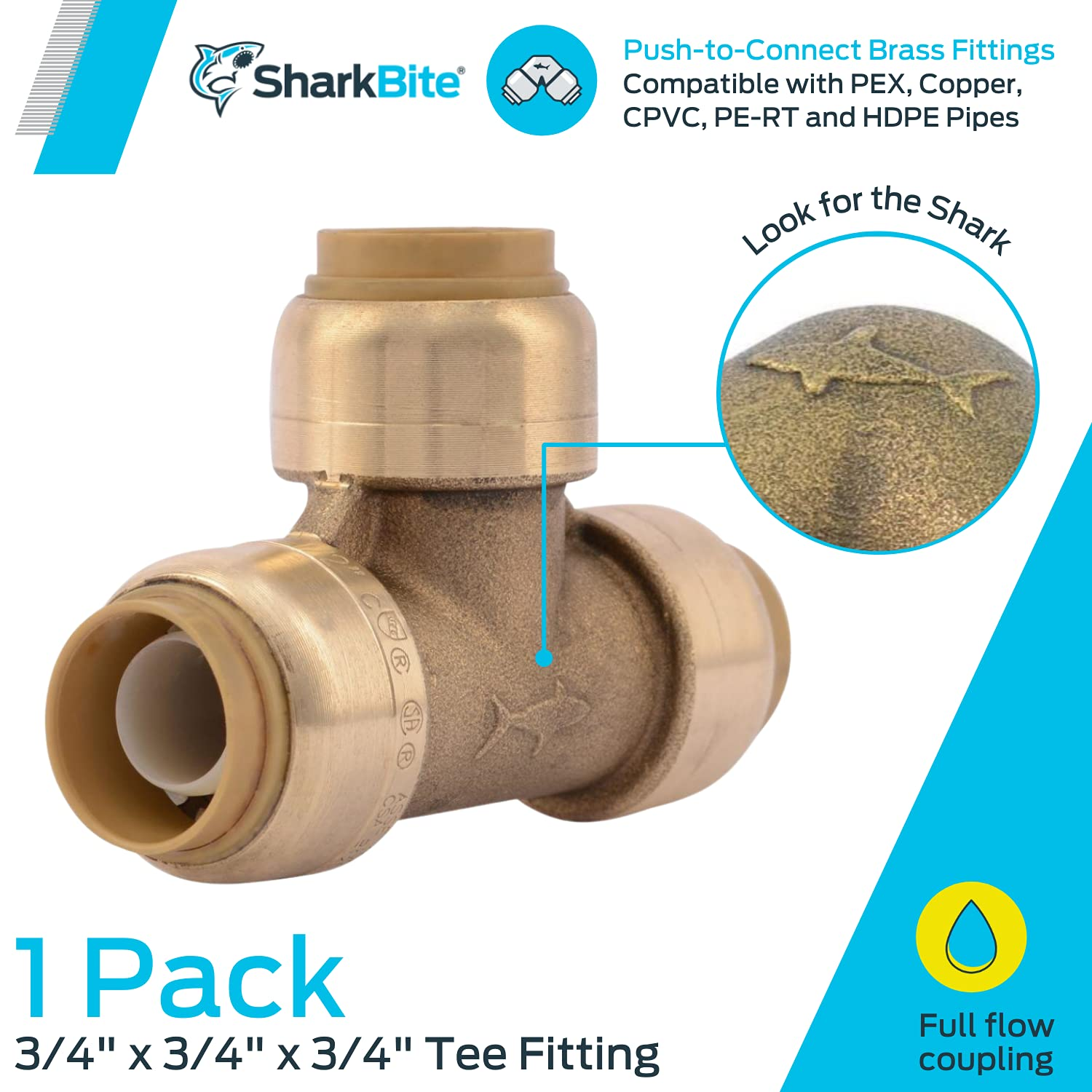 SharkBite U370LFA Tee Plumbing Pipe Connector 3/4 In, PEX Fittings, Push-to-Connect, Copper, CPVC, 3/4-Inch by 3/4-Inch by 3/4-Inch