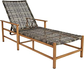lax Furniture Patio Chaise Lounge Chair All Weather Wicker Pool Lounger, Adjustable Backrest