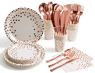175 Pieces Serves 25 Rose Gold Party Supplies Dot on White Paper Plates and Napkins Cups Wedding Bridal Shower Birthday (R...