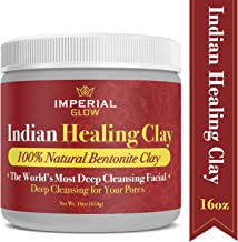 Indian Healing Clay, 1 Lb Deep Cleansing Calcium Bentonite Clay Powder, Detoxifying Face and Body Mask, Therapeutic Grade - 100% Natural & Organic Red Clay Powder, 16oz