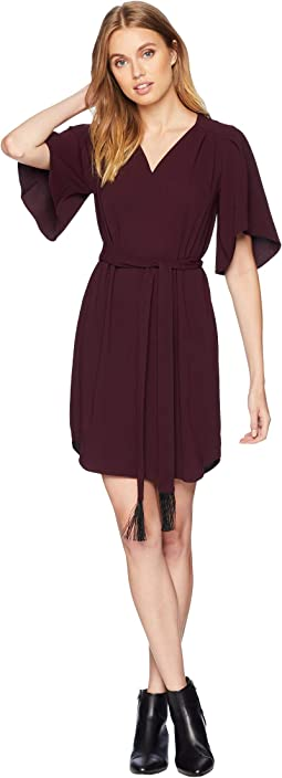Flowy Sleeve Notch Neck Crepe Dress