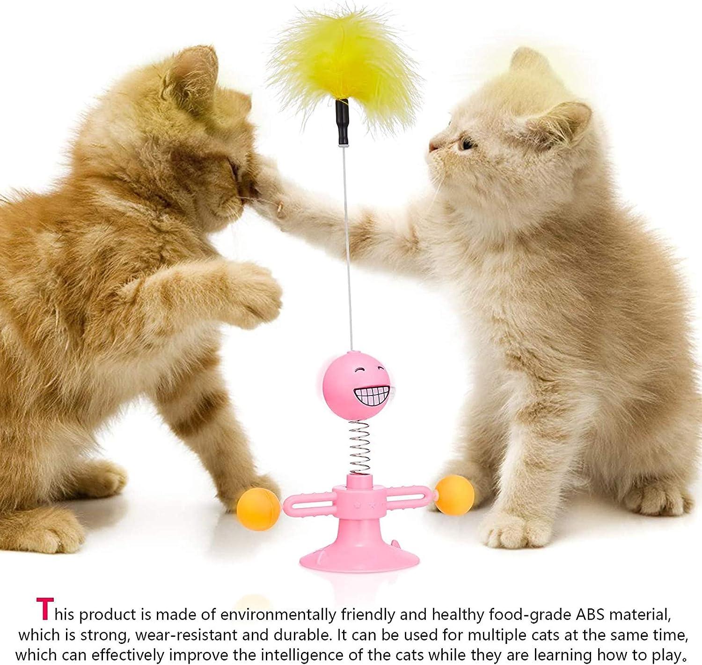 Shengruili Juguete Giratorio para Gatos,Juguetes Interactivos para Gatos,Pelota de Juguete para Gatos,Juguetes Gatos con Ventosa,Plumas de Juguete para Gatos B
